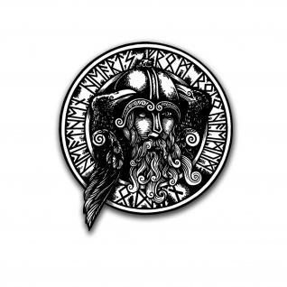 Odin Hugin und Munin Runen Aufkleber Sticker Wikinger Gott Auto 40x43cm #A5795