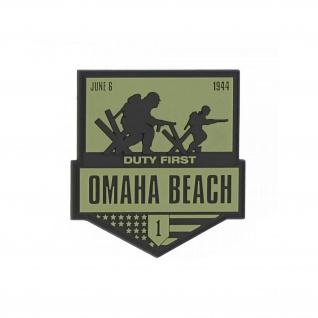 3D Rubber Patch Omaha Beach 1944 Normandie Big red one Aufnäher 9x8cm#37036