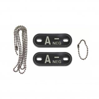 Dog Tag Blutgruppe A-Neg Negativ Kette 3d Rubber PVC Tactical 2, 5x7cm #20490