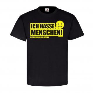 Ich hasse Menschen Fun Smiley Spaß Humor Mittelfinger Emoji T Shirt #23488