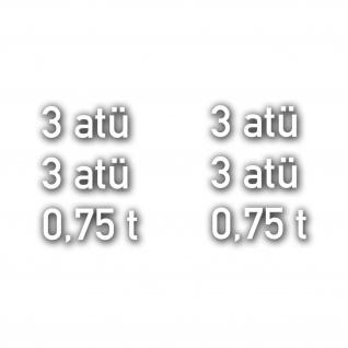 B2000 Reifendruck Set 3 atü bar 0, 75t Luft Druck Reifen R16 6x 2x5cm #A4743