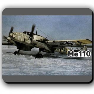 Me110 im Winter Luftwaffe Zerstörer Flugzeug Wintertarn Bild - Mousepad #13782