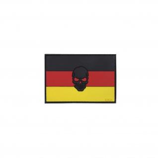 Deutschland Patch German Germany Fahne Totenkopf Aufnäher Brd 8x5, 5cm #20302