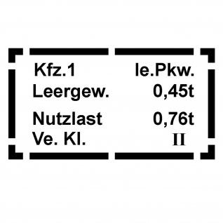 Aufkleber/Sticker Typ 181 PKW 0, 4t Daten passend VW Kübel Wagen Typ 181 #A077