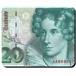20 Mark Deutsche Mark Schein Währung Anette von Droste-Hülshoff Mauspad #16344