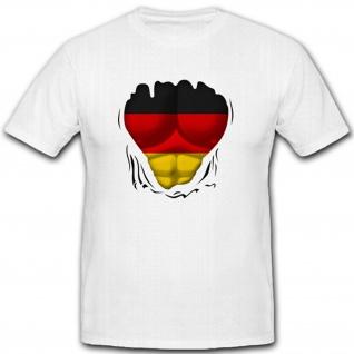 Muskel Shirt Brust Sixpack Training Fitnessstudio Fahne Humor - T Shirt #10517