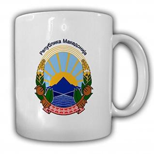 Mazedonien Wappen Emblem Republik Abzeichen Land - Tasse #13752