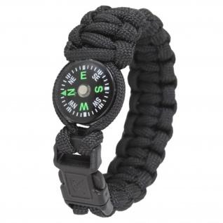 """Paracord Kompass Survival Armband schwarz Größe M 8"""" (Länge 20cm) Schmuck #13407"""