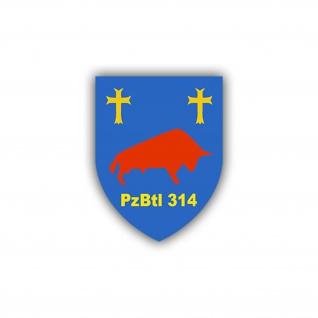 Aufkleber/Sticker PzBtl 314 Panzerbataillon Wappen Abzeichen Emblem 7x6cm A773