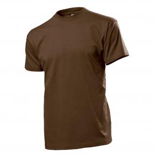 T-Shirt braun Männer Herren Hemd Rundhals 100% Ringspinn-Baumwolle Jersey #12816