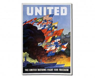Poster United Nations Propaganda Plakat Werbung OWI 79 Freiheit ab30x21cm #30403