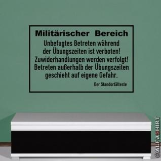 Militärischer Bereich Militärbereich Armee Schild Warnschild (ca. 45x70cm )#3777
