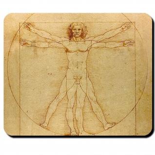 Da Vinci Leonardo der vitruvianische Mensch Kunst Wissenschaft Mauspad #16302