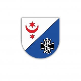 Aufkleber/Sticker SanBtl 13 Wappen Abzeichen Sanitäter BW 6x7cm A1659