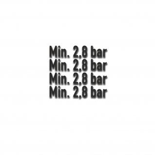 Min 2, 8 bar Reifendruck Aufkleber Bundeswehr Reifen-Druck 5x1, 5cm #A5363