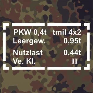 Sticker Aufkleber Typ 181 PKW 0, 4t Daten passend für VW Kübel Wagen 33x17cm A076