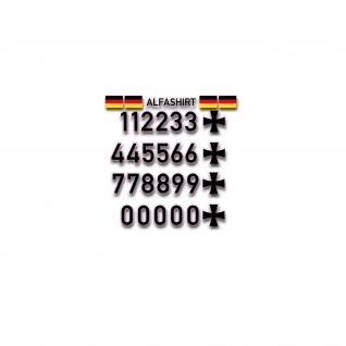 Aufkleber Luftfahrkennungs Set Aufkleber Sticker Zahlen BW Fahne 6cm #A4787