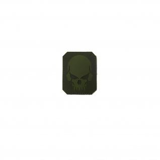 3D Rubber Piraten Skull Patch Oliv Krieger Airsoft Softair Aufnäher 7x6 cm#26932