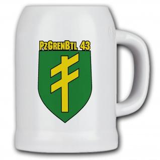 Bierkrug 0, 5l Bierkrug PzGrenBtl 43 Panzergrenadierbataillon Bundeswehr #13638
