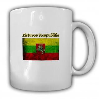 Litauen Fahne Flagge Wappen Emblem Nostalgie - Becher Tasse #13692