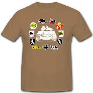 schwere Panzerabteilungen Panzer Wappen Embleme Abzeichen Tiger - T Shirt #11024