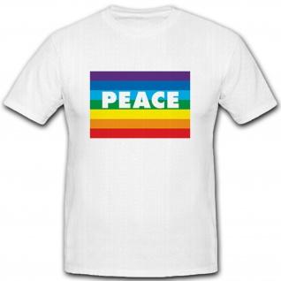 Peace Frieden Regenbogen Gay Schwul Humor Fun Spaß - T Shirt Herren weiß #2234