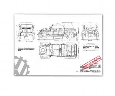 Poster Kübelwagen Typ 82 Bauplan Kübel Auto Oldtimer Zeichnung ab 30x21cm #30953