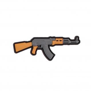 3D Rubber AK 47 Patch Gun MG Airsoft Militär 47 Soldaten Aufnäher 3x8cm #29087