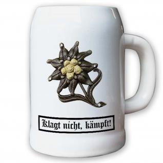 Krug / Bierkrug 0, 5l - Barettabzeichen Gebirgsjäger Alpen Edelweiss Metall#11823