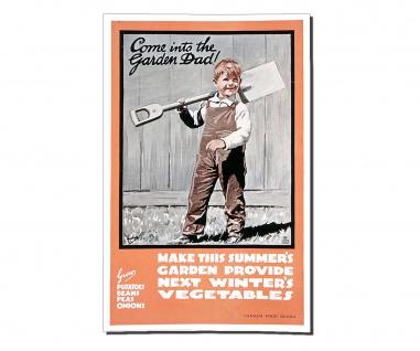 Poster Komm in den Garten Propaganda Junge Schaufel Gemüse ab 30x20cm #30951