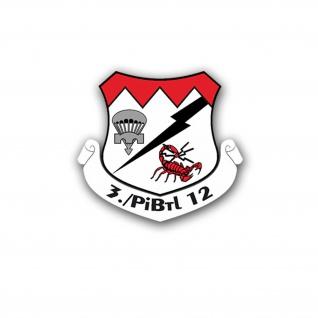 Aufkleber/Sticker 3 PiBtl 12 Pionier Bataillon BW Wappen Abzeichen 5x5cm #A673