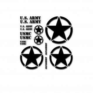 US Auto Sticker Set Stern Militär Aufkleber 1x 45cm 2x38cm 2x15cm#A5194