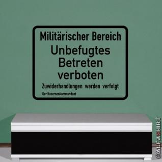 Militärischer Bereich Militärbereich Armee Schild Warnschild (ca. 45x58cm )#3774