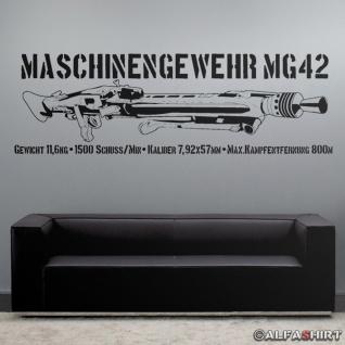 MG42 mit Daten Maschinengewehr Deko Wandtattoo 120x38cm #7645