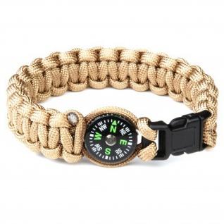 "Paracord Kompass Survival Armband sand Größe L 9"" (Länge 23cm) Schmuck #13408"