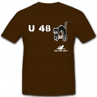 U Boat U48 Kater WK Marine Register Tonnen U Boot Unterseeboot T Shirt #2192