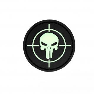 3D Rubber Patch PVC Skull Visier Glow in the Dark Militär 4, 5x4, 5cm #30049