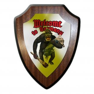 Wappenschild Welcome to Germany Humor Spaß Gorilla Fun Emblem #19784