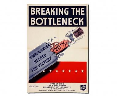 Poster Überwinde den Engpass Propaganda Auto Reifen Sieg Ohio ab 30x21cm #30952