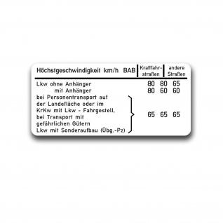 BW Lkw Höchstgeschwindigkeit Aufkleber Beschriftung Bundeswehr 12x5cm#A4924
