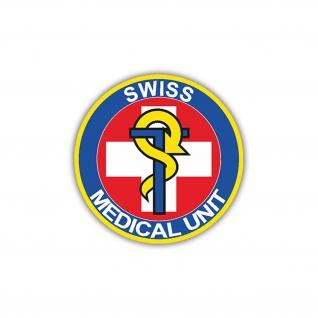 Aufkleber/Sticker Sanitäts Einheit Medical Unit Logo Schweizer Armee 7x7cm A1221