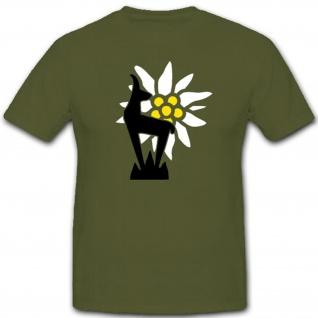 Gebirgs Division Gebirgsjäger Wappen Gams Logo Wh Wk Edelweis - T Shirt #7494