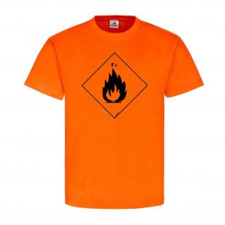 Hoch Endzündlich F+ Chemie Zeichen Logo Flamme Brand T-Shirt #23923