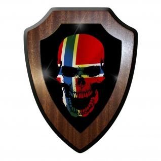 Wappenschild / Wandschild -Norwegen Skull Totenkopf Totenschädel Tattoo #9866