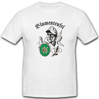 Blumenteufel Gebirgsjäger Wh Wk Militär GebJg Edelweiß Heer - T Shirt #3640