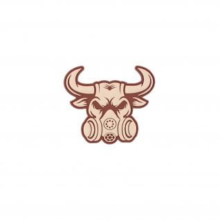 3D Rubber Gasmasken Bulle Patch Truppe Einheit Aufnäher Alfashirt 8 x 9 cm#26906