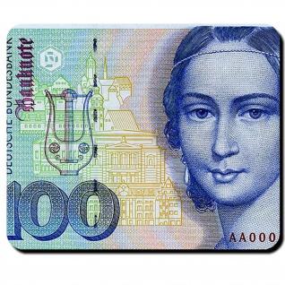 100 Mark Deutsche Mark Geldschein Währung Banknote Clara Schumann Mauspad #16342