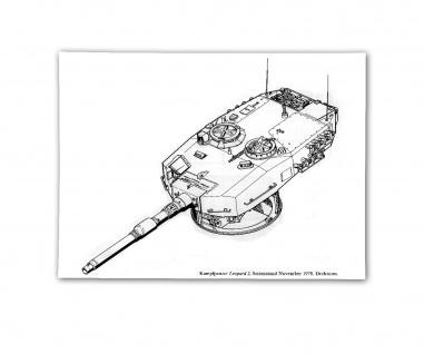Poster Kampfpanzer Turm Leopard 2 Drehturm Blueprint BW Panzer ab 30x21cm #30809