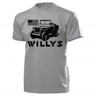 Willys USA MB Overland 1945 Amerika Fahne Oldtimer Fan Kult T Shirt #17779