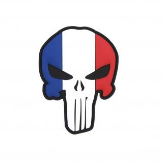 3D Patch French Skull Frankreich Paris Aufnäher Französische armee 8x6cm #32641